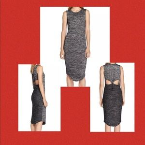 RAG BONE Open Back Twist Maxi Dress Heather Gray